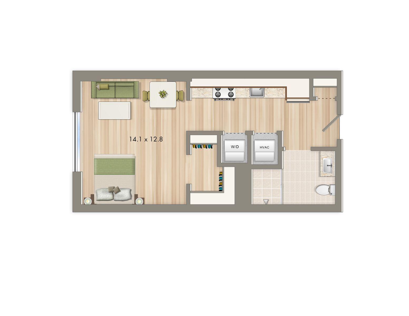 Park chelsea floorplan release studio apartments the for Studio apartment plans 16x32