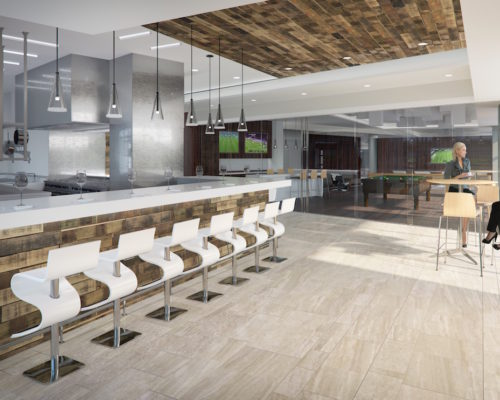 Agora Apartments | Capitol Riverfront Washington DC Apartments | Contruction Update Photos | Clubroom & Demonstration Kitchen Rendering