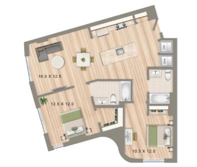 2 Bedroom Apartments In Washington DC | 2 Bedroom Floorplans For Roommates