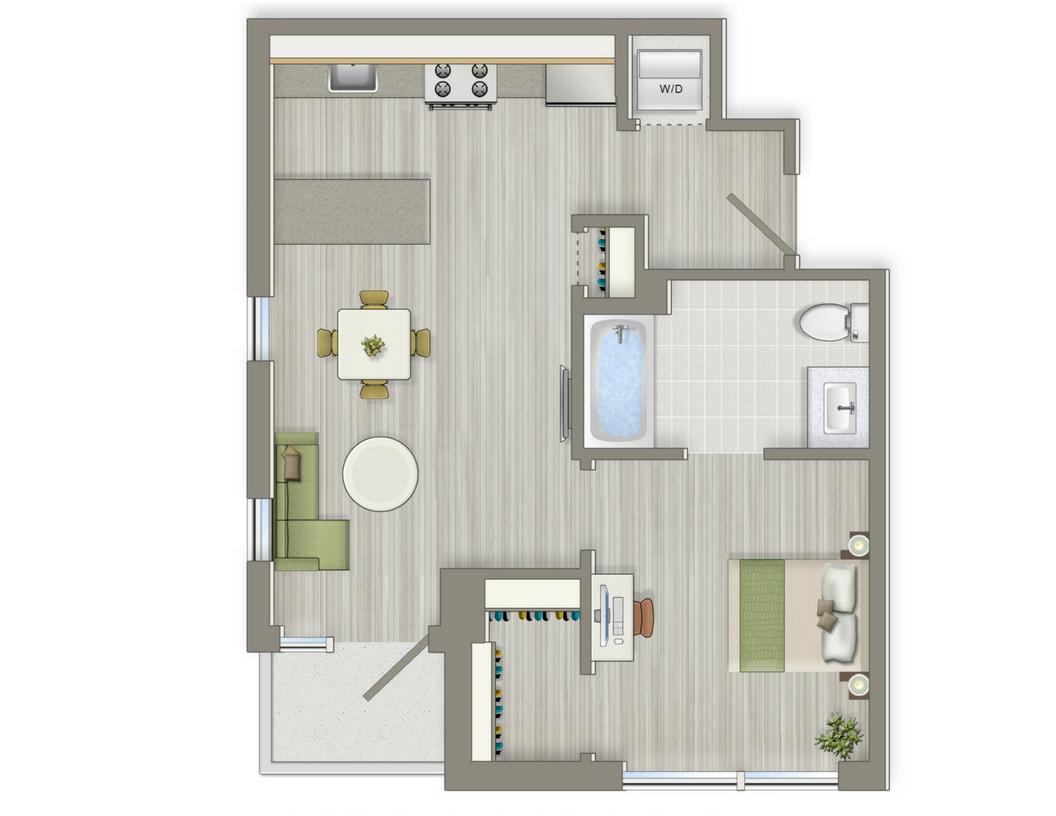 Agora One Bedroom Floorplan 1-F | Floorplans For Cohabiting | Washington, DC Apartments
