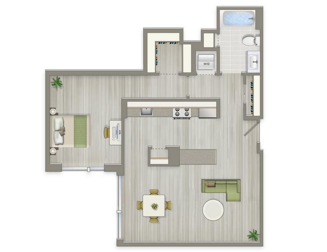Agora One Bedroom Floorplan 1-K | Floorplans For Cohabiting | Washington, DC Apartments