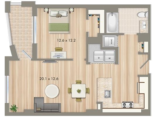 Park Chelsea One Bedroom Floorplan 1-N | Floorplans For Cohabiting | Washington, DC Apartments