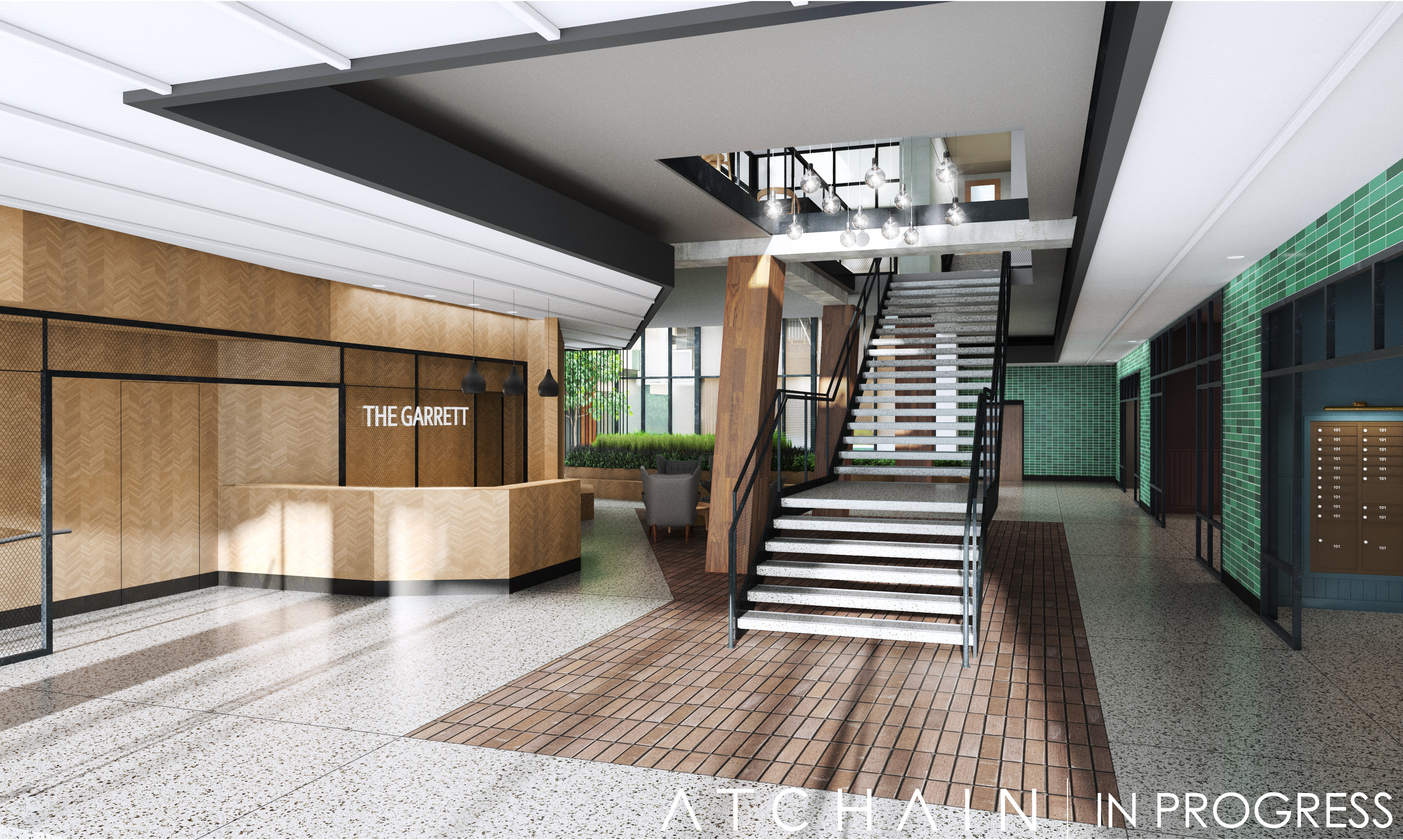 The Garrett at The Collective Lobby Rendering