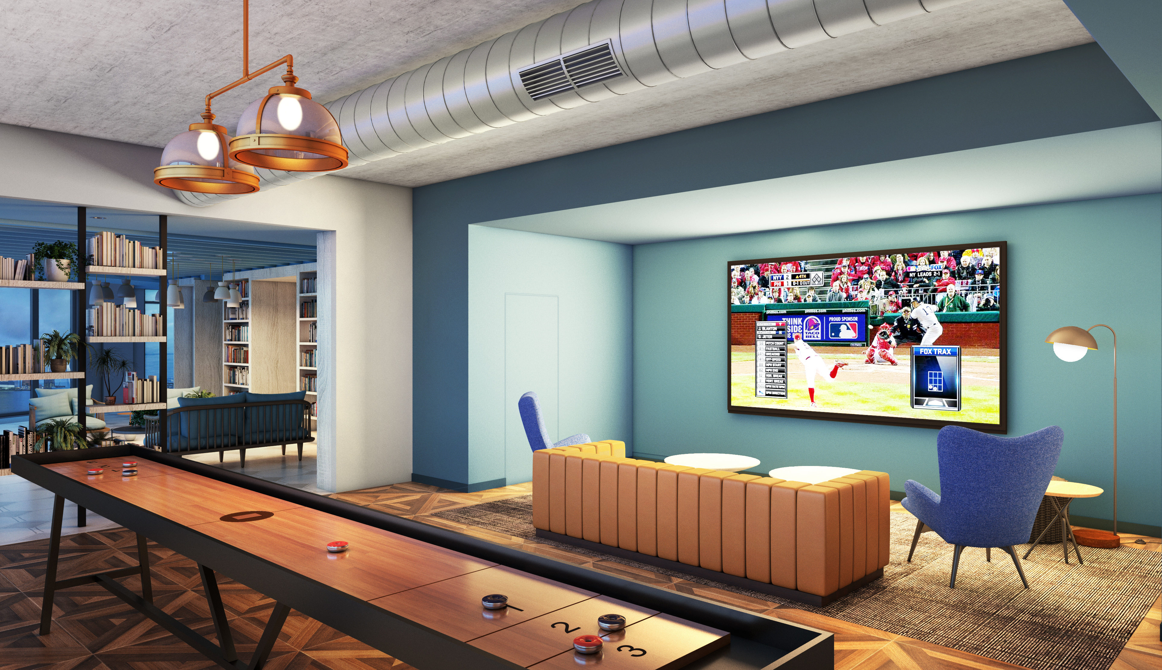 The Garrett at The Collective Clubroom Rendering