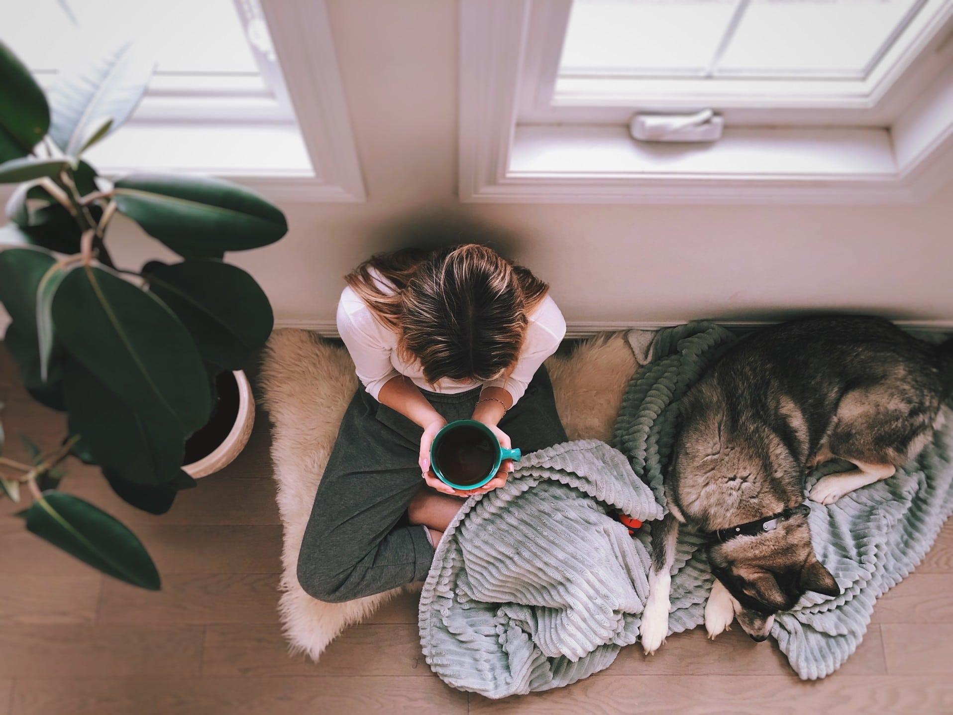 teenage-girl-with-dog-relaxing